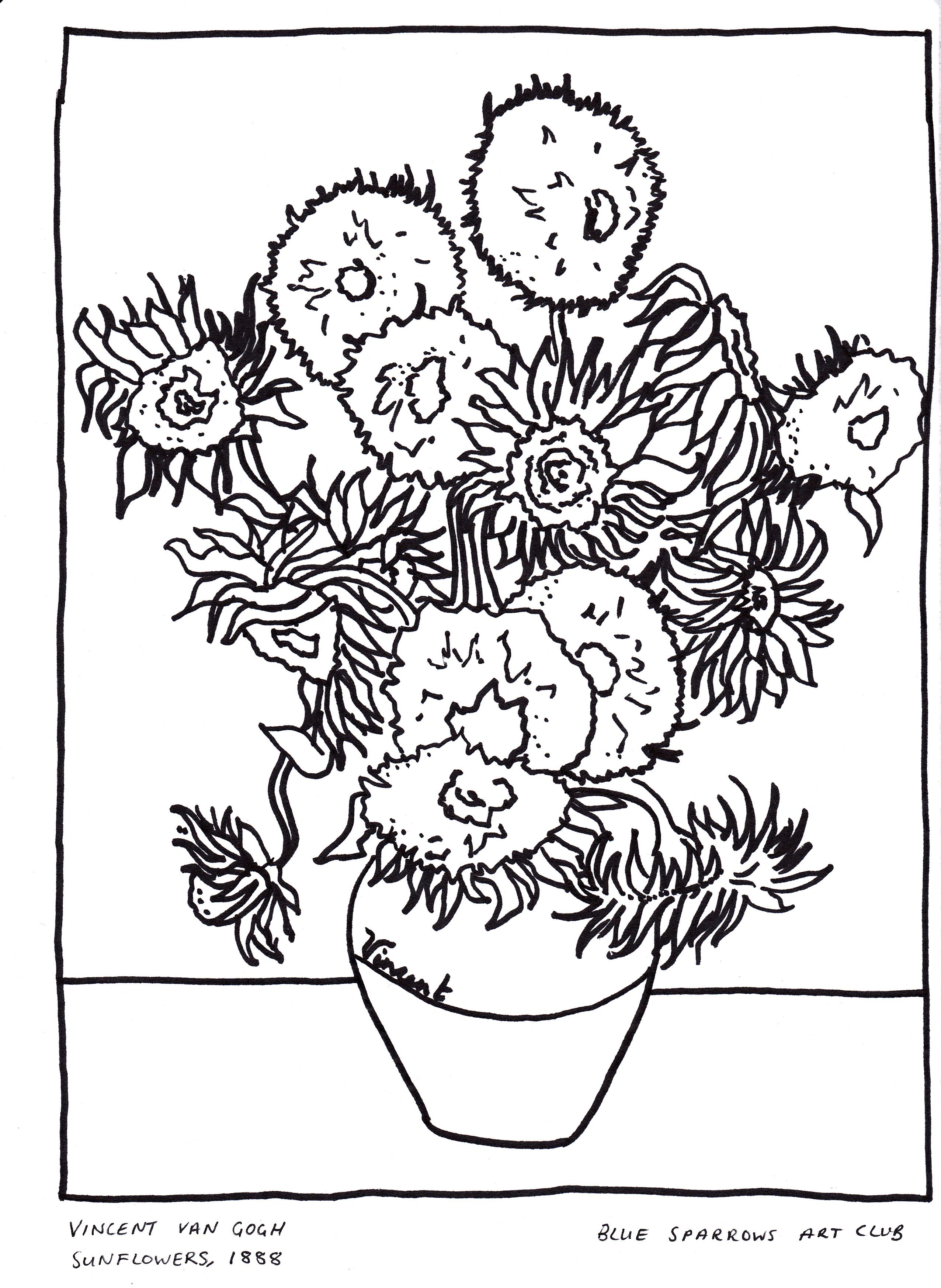 Vincent Van Gogh Sunflowers Free Artist Colouring Page