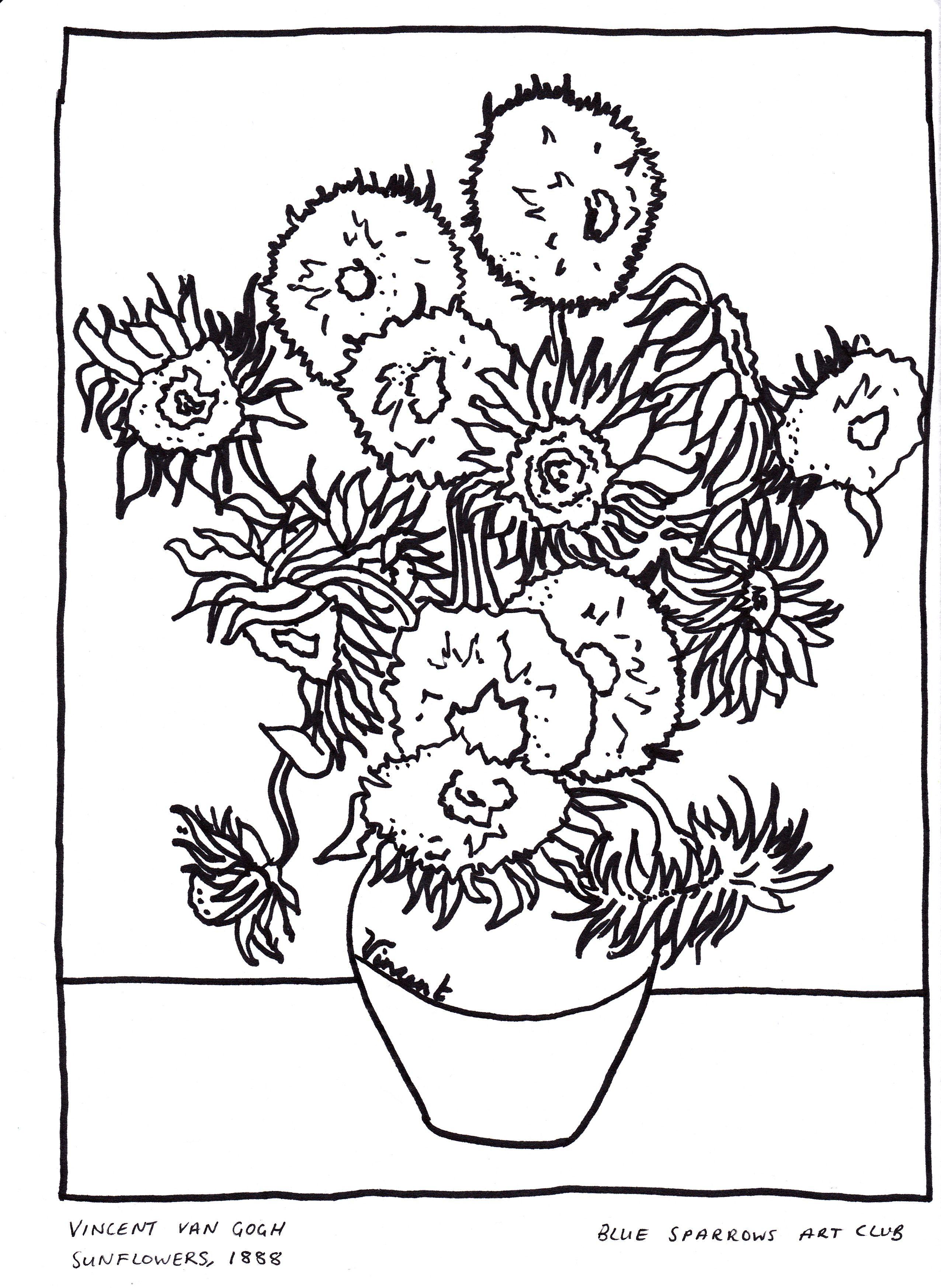 Vincent Van Gogh Sunflowers Free Artist Colouring