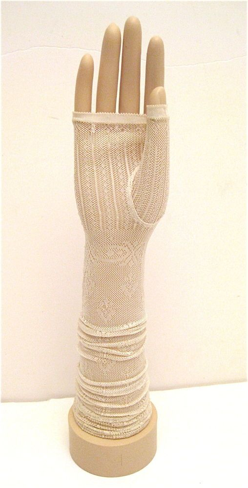 Antique 1920s Delicate Ivory Long Pattern Lace Fingerless ...