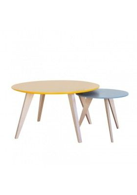 Victorine Basses Moutarde Et Gris Gigognes Tables wmvnN80