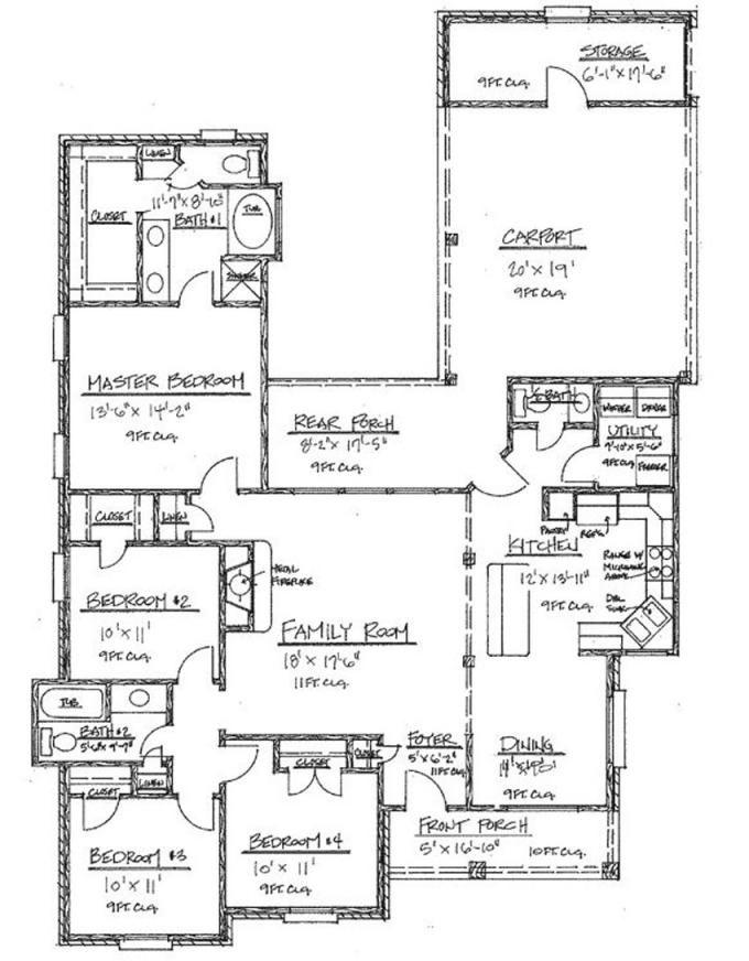 4 Bedroom Floor Plans Under 2000 Sq Ft
