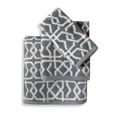 Colordrift Lattice Grey Bath Towel Collection