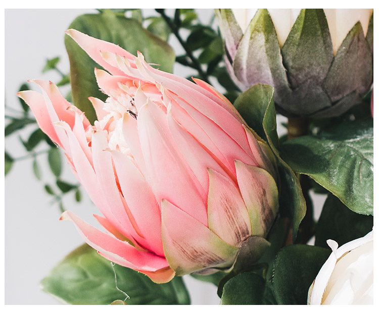 Miz Pink And White King Protea Bud Flower Party Bud Flower For Home De Myhome Living Com Modern Artificial Flowers Flower Party Protea Flower