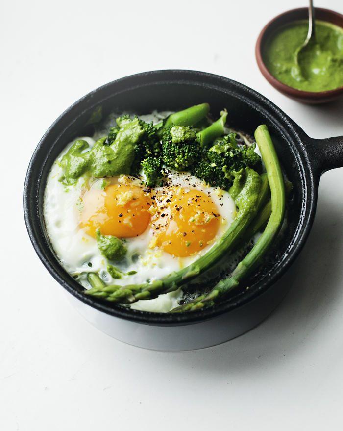 broccoli, asparagus egg skillet with green pesto