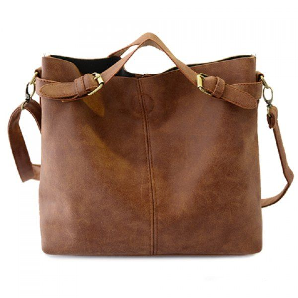 Simple Style Solid Color and Buckle Design Tote Bag For Women ...