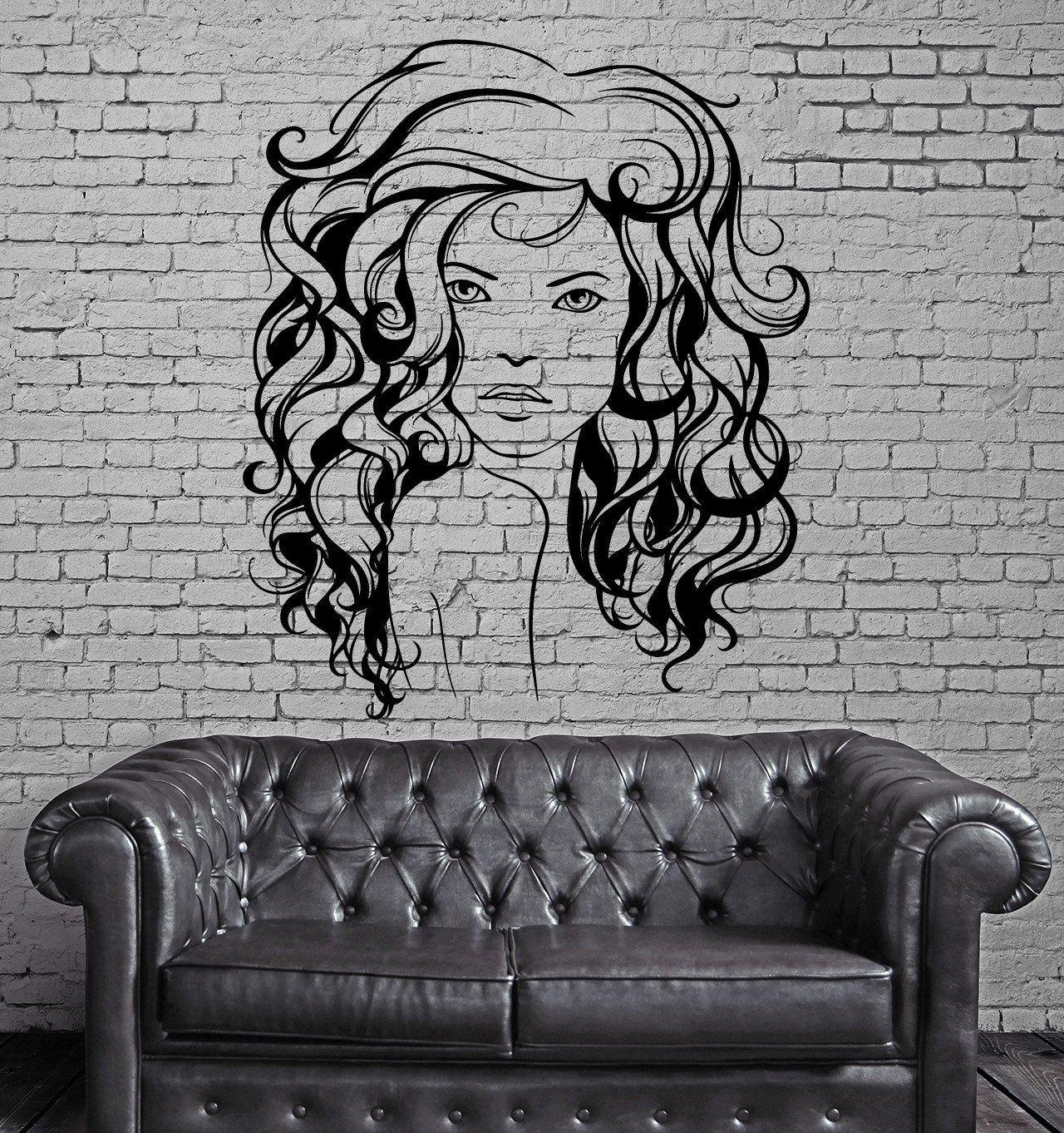 Beauty salon hair hairstyle stylist sexy woman wall sticker vinyl
