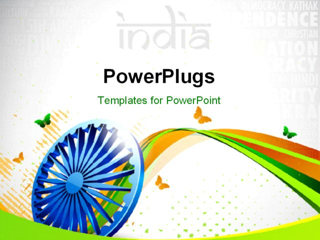 Indian Flag Butterflies: PowerPoint Template Displaying Creative Background With