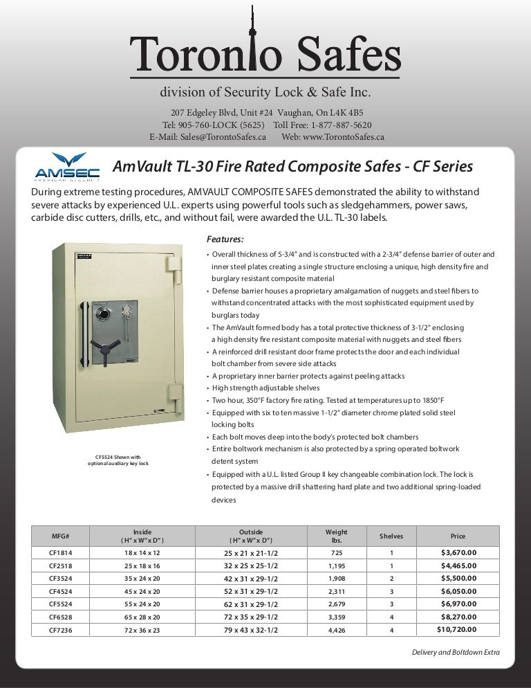AmVault TL30 Fire Rated Composite Safes CF Series