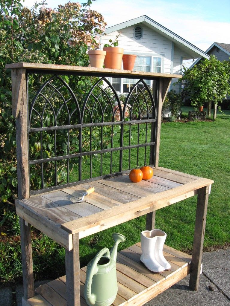 Rustic Wrought Iron Potting Bench For The Home Rustic