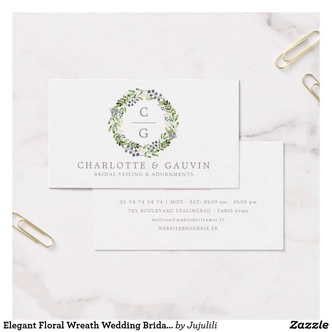 Elegant Floral Wreath Wedding Bridal Fashion Business Card  Wedding