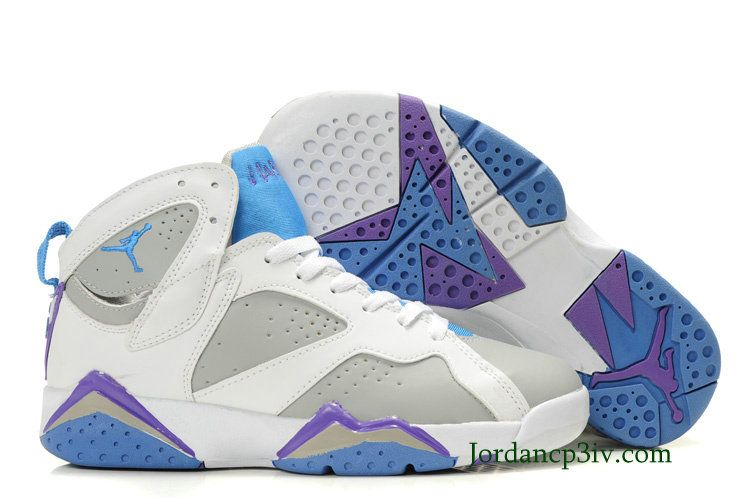 brand new 5f86c 756d6 Jordan 7 Womens Retro White Grey Purple Blue Basketball ...