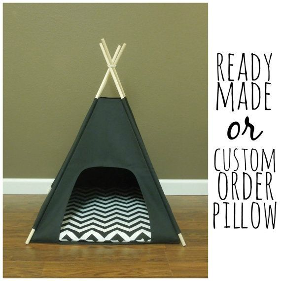 Cat dog tent pet teepee small 24 base black canvas - Tipi para perros ...