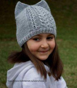 шапочка с ушками для девочки вязание спицами шапочкибереты