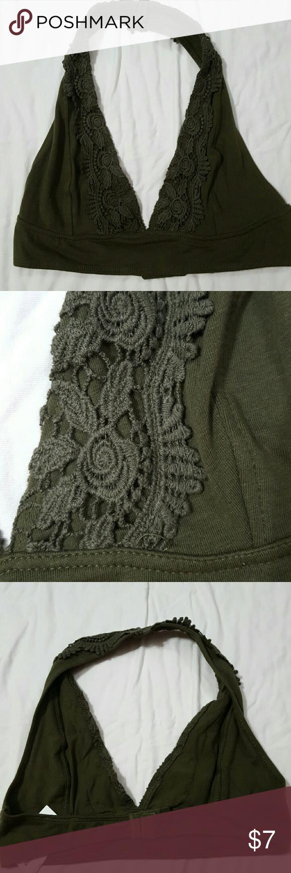 Green lace halter bralette Green lace halter bralette. Adjustable back bra strap. timing Intimates & Sleepwear Bras