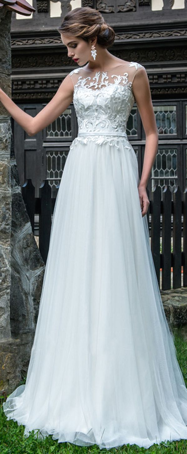 Wonderful Tulle Jewel Neckline A-line Wedding Dress With Lace ...
