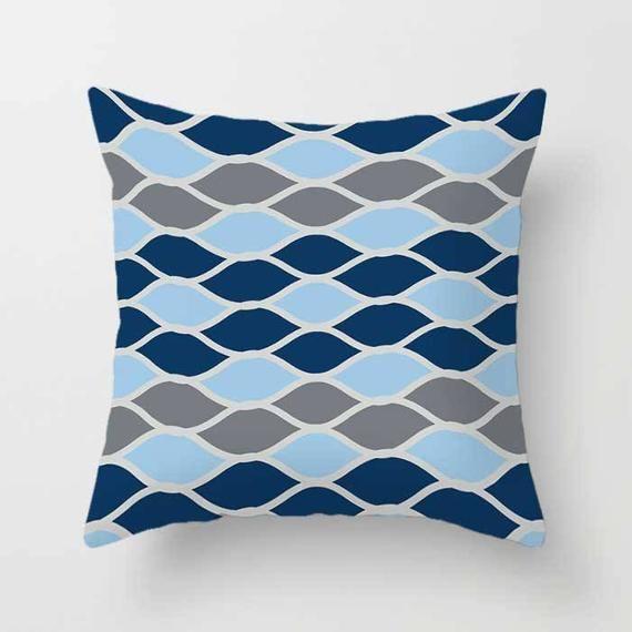 Blau Grau Kissenbezüge, Geometrische Werfen Kissen Für
