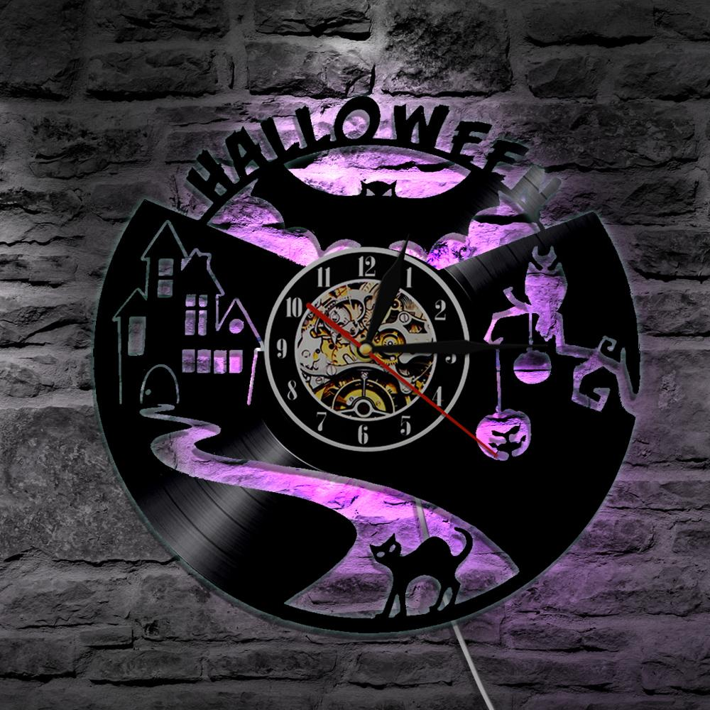 color d led creepy halloween vinyl wall clock in halloween