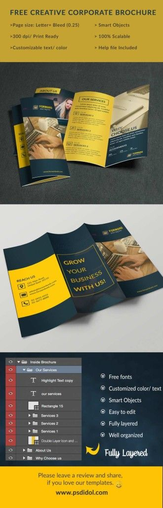 Free Trifold Brochure Psd Template Free Brochure Templates