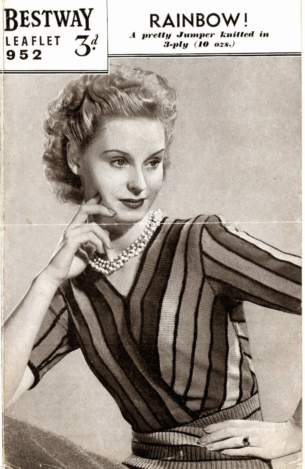 Vintage 1940s knitting pattern-how to make a rainbow stripe jacket cardigan