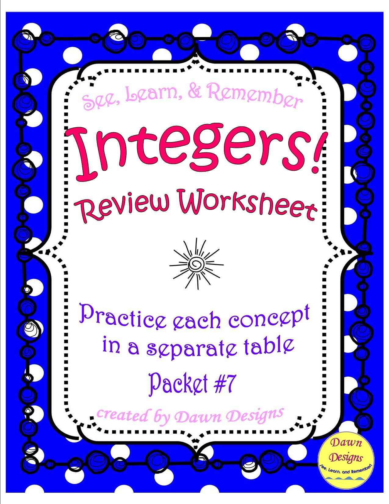 Review Integer Operations Practice Each Concept In Different Table For Adding With Same Sign A Adding And Subtracting Integers Integers Worksheet Subtraction