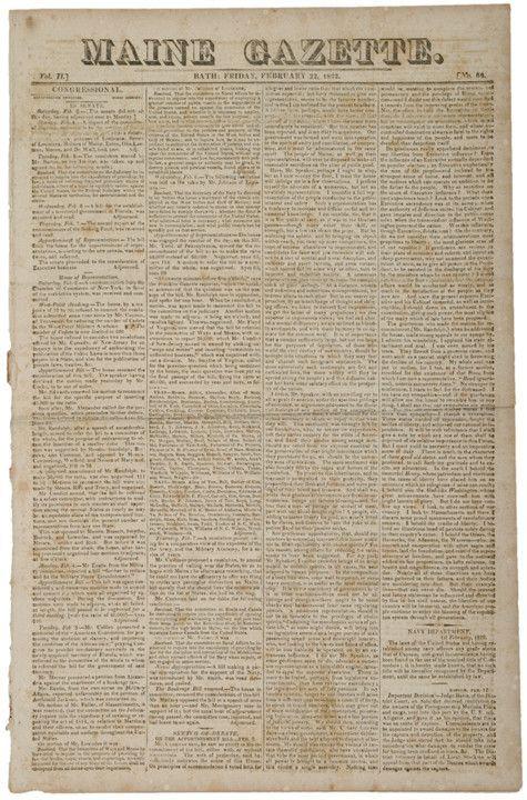 Perfect 1822 MAINE GAZETTE, Newspaper, Bath, ME