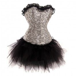 burlesque silver corset and tutu set  corsets and