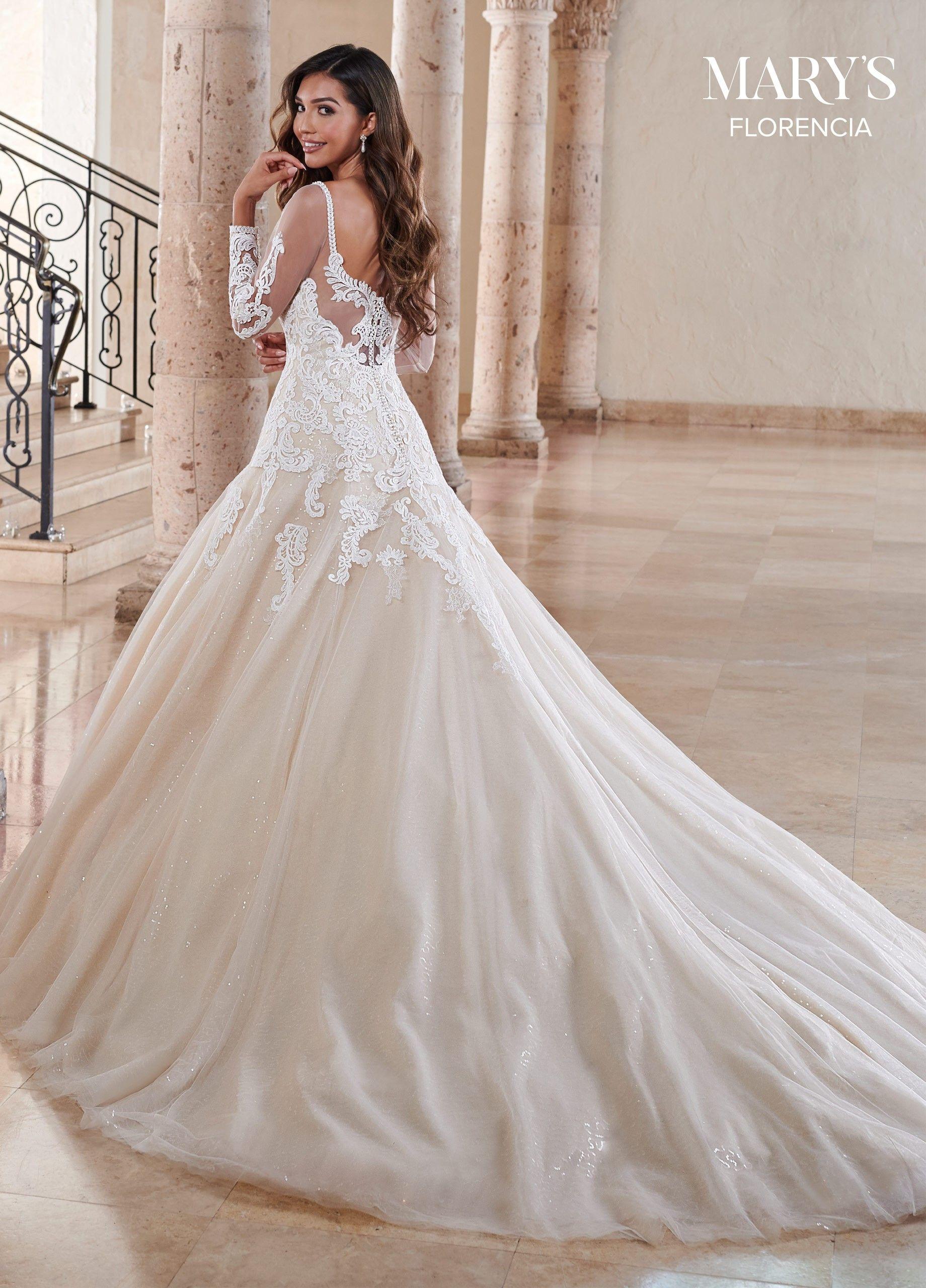Marys Bridal Mb3121 Long Sleeve Glitter Wedding Dress In 2021 Glitter Wedding Dress A Line Bridal Gowns Wedding Dress Train [ 2560 x 1840 Pixel ]