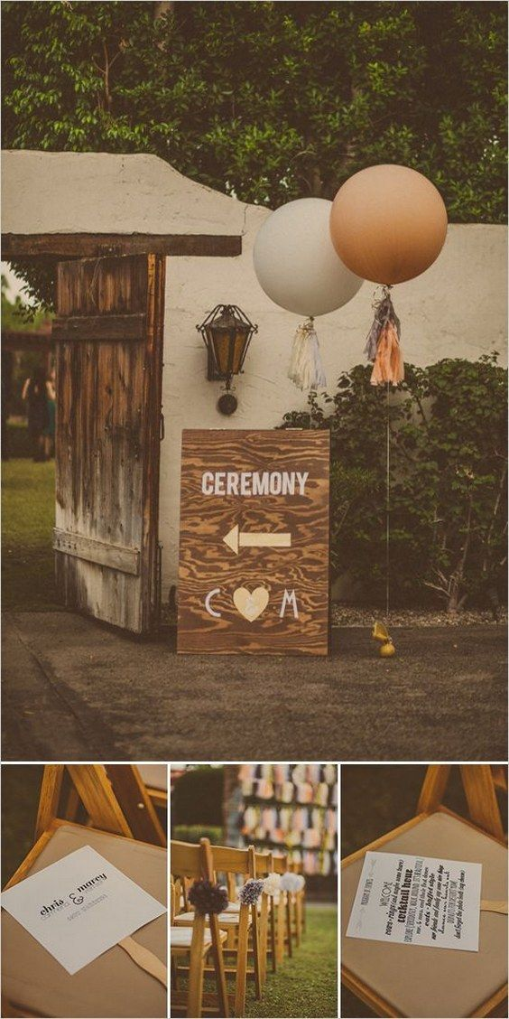 rustic country balloons wedding sign
