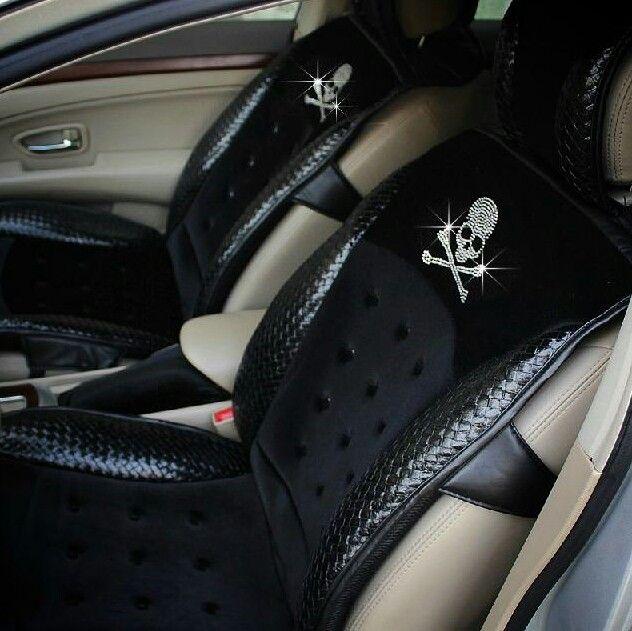 Rhinestone Skull Leather Seat Covers