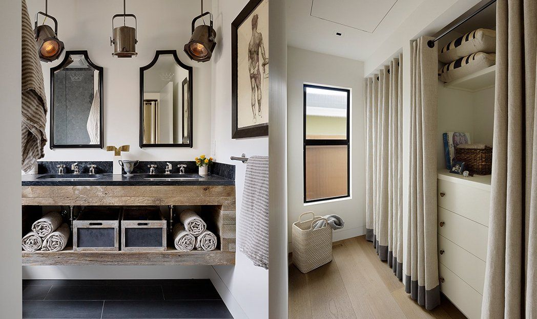 Heavy textured curtains w/ suspended bars and bottom