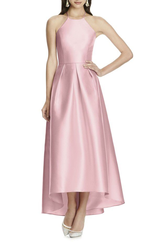 Alfred Sung Alfred Sung High/Low Hem Sateen Halter Dress available ...