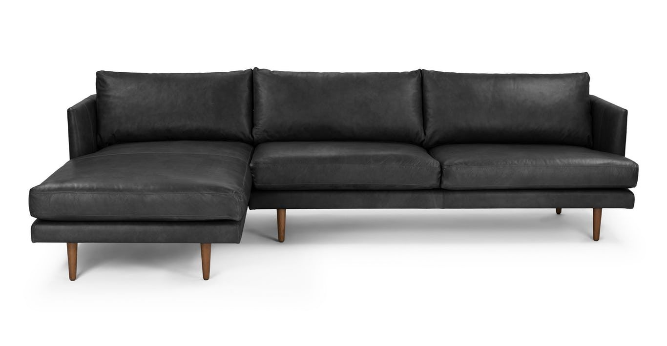 The Burrard Sectional Features Sumptuous Leather Strong Lines And Sinkable Cushions D Modern Sofa Sectional Sectional Sofa Mid Century Modern Sectional Sofa