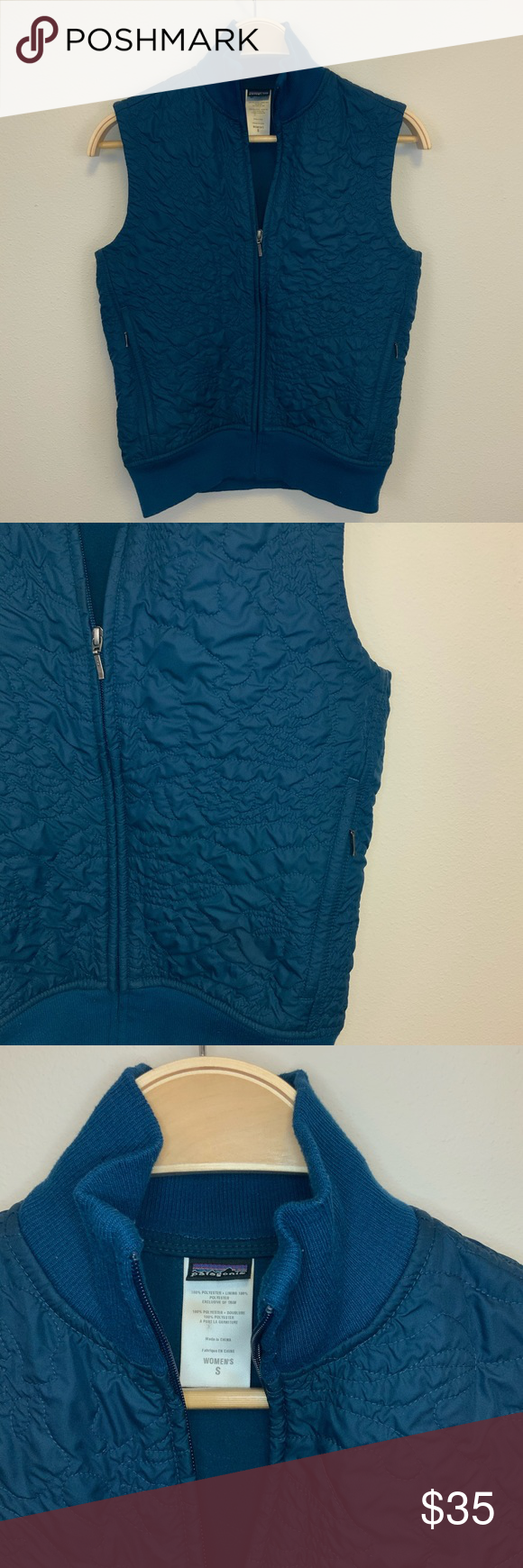 Patagonia Teal Vest Jacket Sz S  Lightweight Patagonia Teal lightweight vest jacket.  Crinkle fabric on the outside and fleece lining.  two side seam pockets with sippers and rib detail at neck and waist.  100% Polyester Size S Approximate Measurements: 17.5