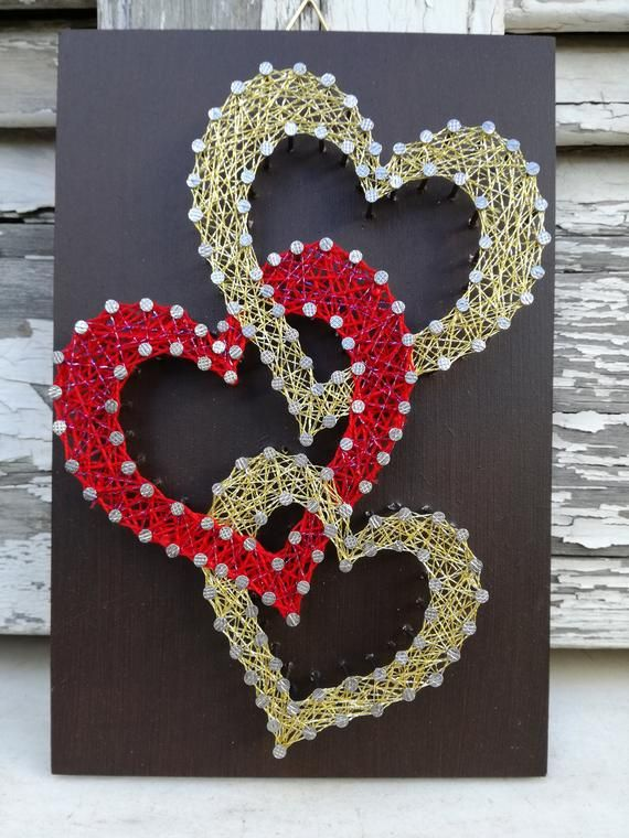This wooden decoration of 2 Gold hearts and one Red (0,12x0,18m) (4,7x7,08 in),is the perfect Valentines Day or Anniversary present for your Loved one. Any of the signs take 5-6 days to make. After that they will be shipped immediately. -Any color or size available upon request. - Due to