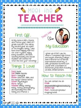 meet the teacher letter teacher parents and met
