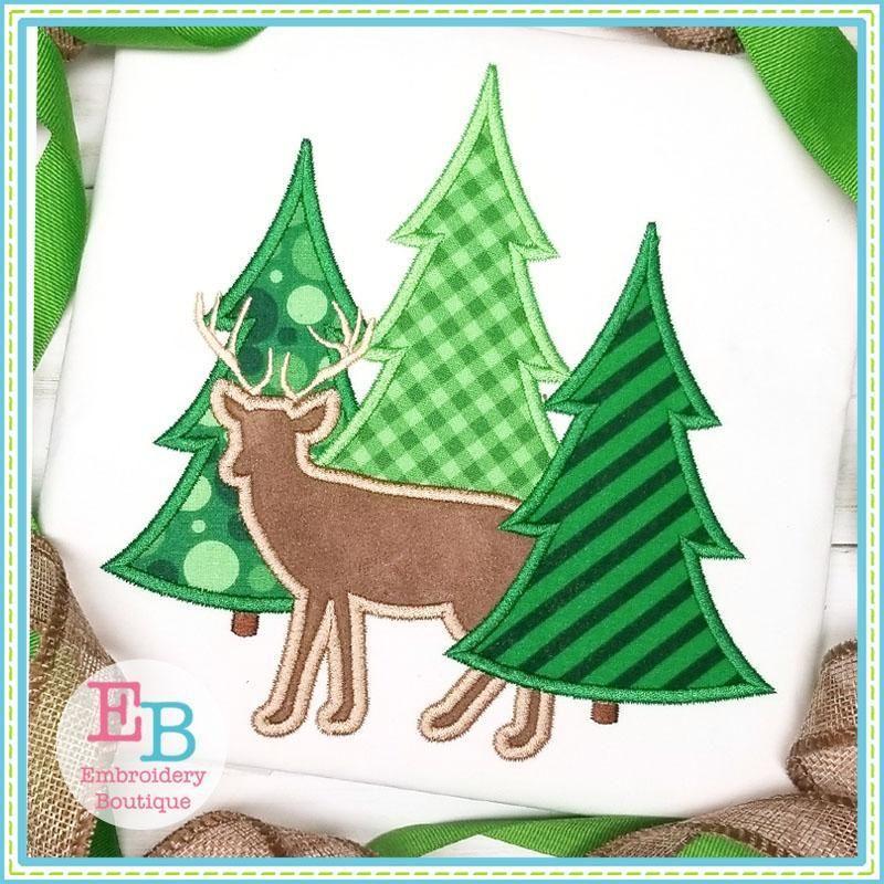 Buck And Tree Trio Applique Design Christmas Applique Christmas Tree Embroidery Design Christmas Embroidery