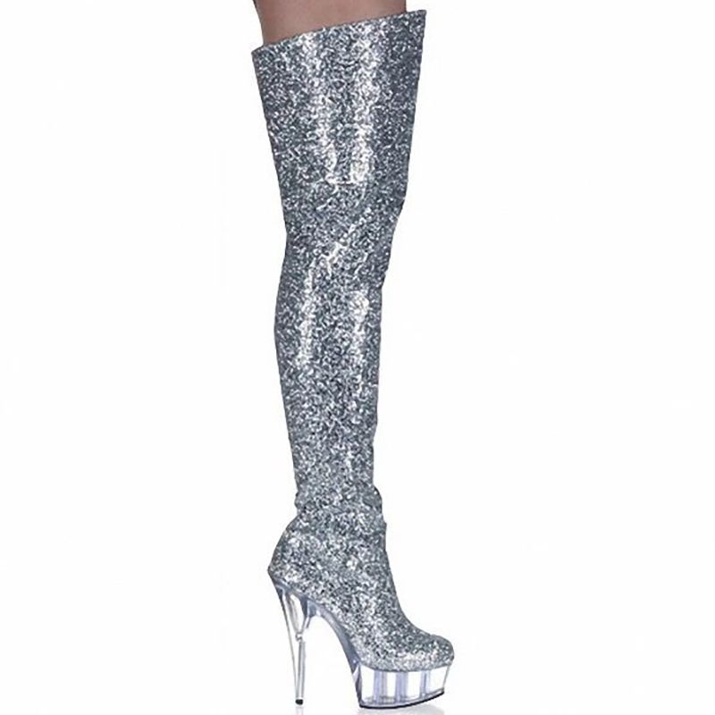 a0cc5815182 Boots Women Shoes High Heels Thigh Boots Fashion Glitter Boots Over Knee  Fenty Beauty Gothic Shoes
