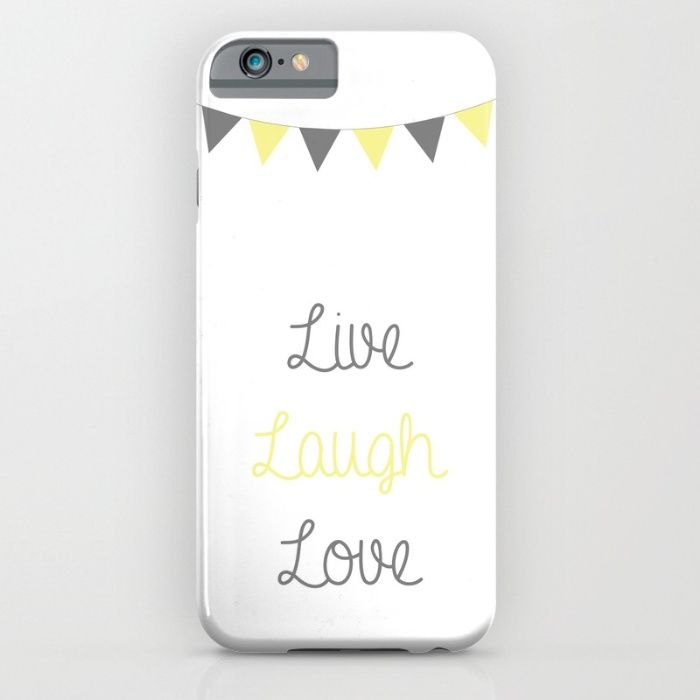 Live Laugh Love | Grey/Yellow Pennant Banner iPhone & iPod Case