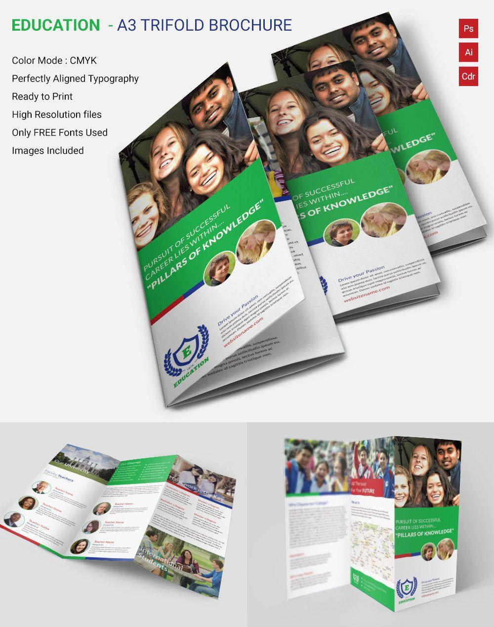 Education A3 Tri Fold Brochure Trifolds Pinterest – Microsoft Word Brochure Templates Free Download