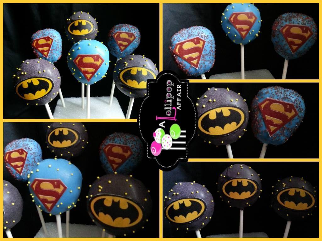 Batman And Superman Cake Pops