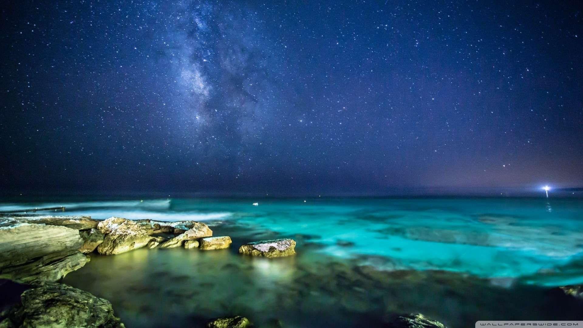 Ocean Night Sky Wallpaper 1080p Hd Ocean At Night Night Sky Wallpaper Night Skies