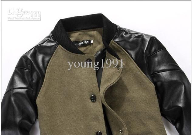 Jacket with leather sleeves men. Online clothing stores ...