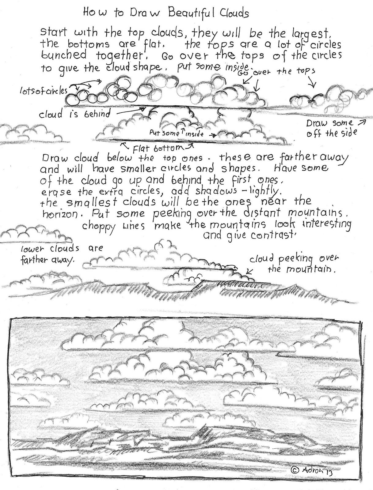 How To Draw Beautiful Clouds Worksheet