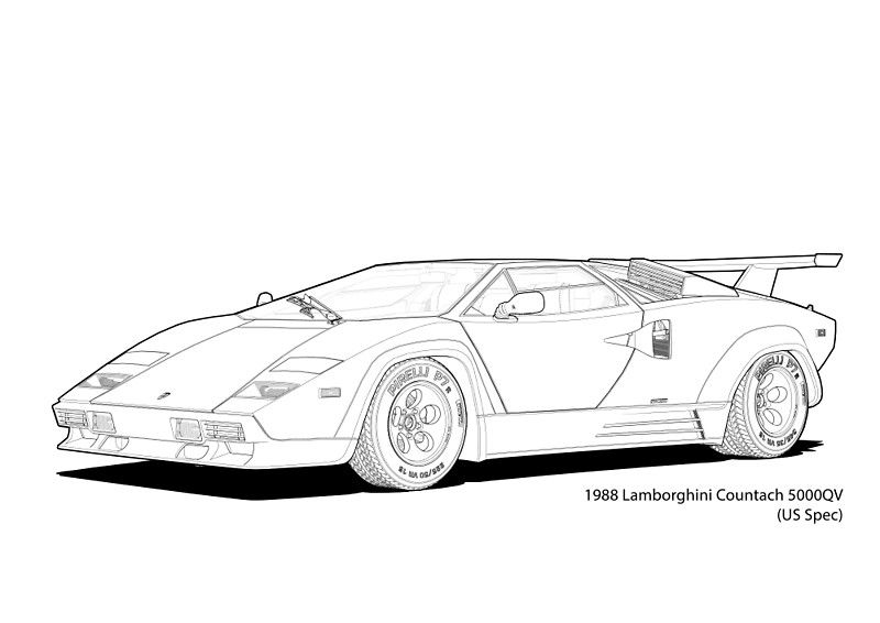 Lamborghini Countach 5000QV (US Spec) Line Illustration