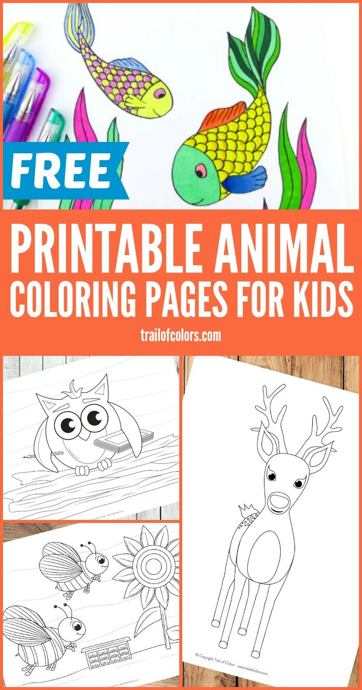 Free Printable Animal Coloring Pages   Manualidades para niños ...