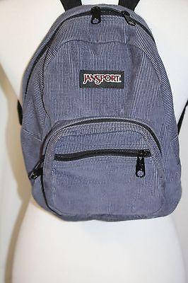 Jansport Half Pint Mini Backpack Blue Gray Corduroy Vintage Bag Knapsack  Bookbag 290a8a87401a5