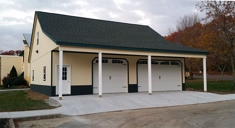 40x40 Modular Garage With Second Floor And 8 Overhang Built By Horizon Structures Prefab Garages Garage Prefab
