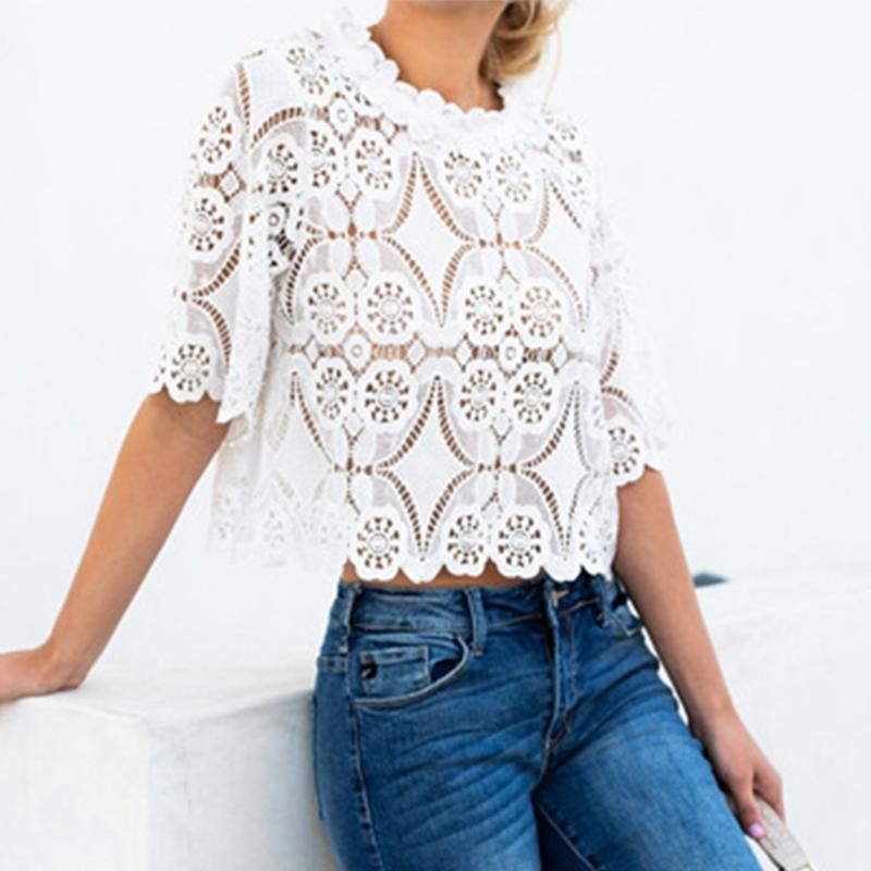 602b6a75f1d9df Fashion Lace Hollow Out Round Neck Half Sleeve Loose blouses for women work  Enjoy Free Shipping $59+ & Easy Return. Up to 80% Off. Don't miss First  Order 5% ...