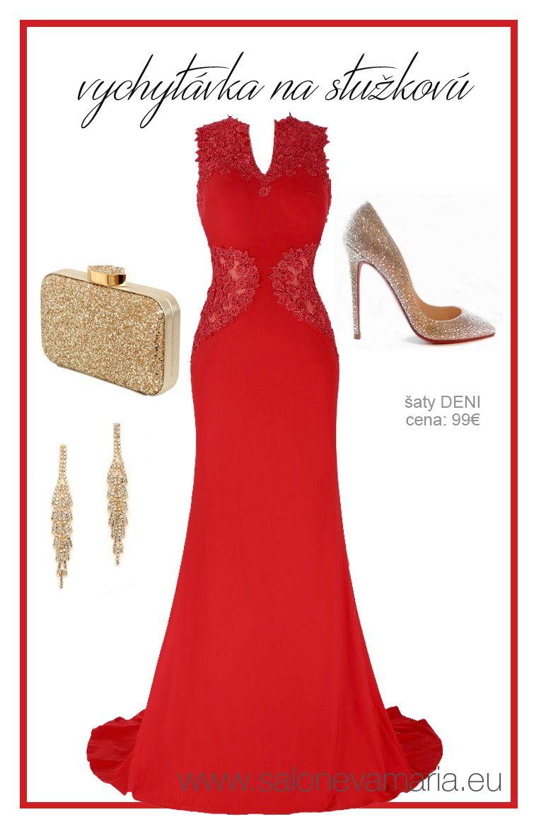 153f8618d65e Červené priliehavé šaty na stužkovú.
