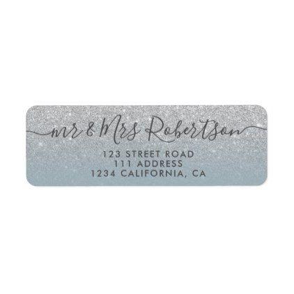 glitter dusty blue script wedding label
